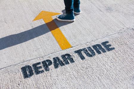 departure signage color paint on concrete floor.JPG