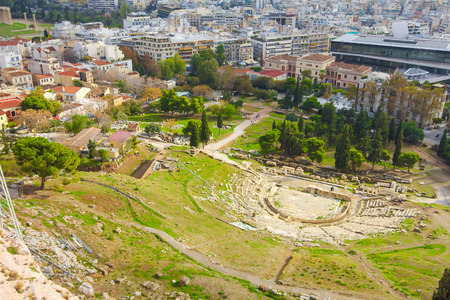 acropolis: ancient theater under Acropolis of Athens, Greece view from Acropolis