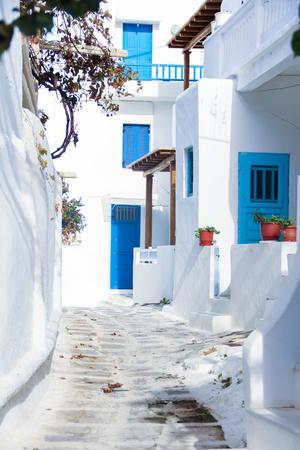 myconos: Beautiful Backstreets of Mykonos island Greece Stock Photo