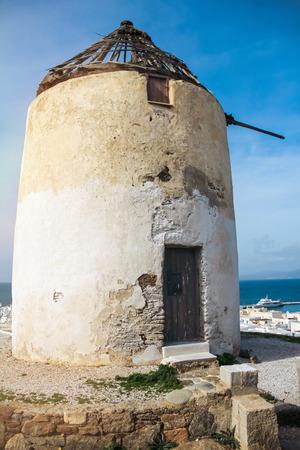 myconos: old windmills in Chora,Mykonos,Greece.Traditional greek whitewashed architecture,a popular landmark