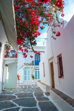 mykonos: Mykonos old town street with cobbled walkways, white walls, and painted door and windows, Mykonos island, Greece