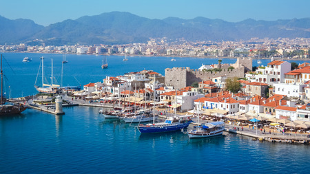 Marmaris Tulkey November 17 2013: Marmaris castle and port Mediterranean sea Turkey Редакционное