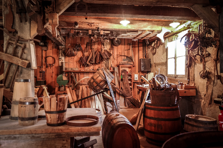 Old tradition workshop in France. Stock Photo
