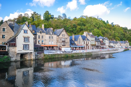 dinan: The Port of Dinan, River Rance, Brittany, France view from the bridge