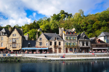 dinan: The Port of Dinan, River Rance, Brittany, France Editorial