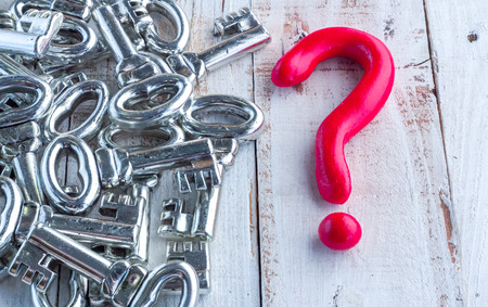 solver: red question mark and silver keys Could be used for the concept of keys to learning.
