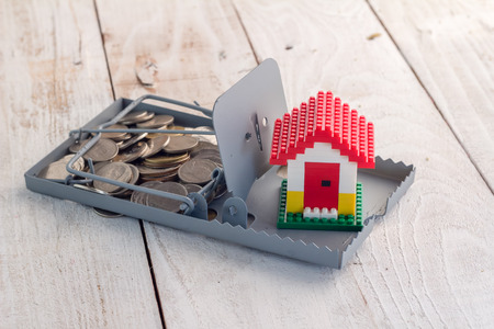 mousetrap: Closeup of house model on mousetrap with coins on white wooden background