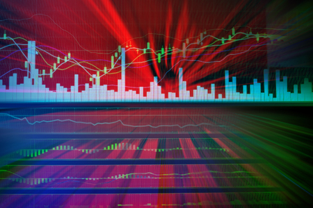 dow: risk of stock market with red color for background Financial concept Stock Photo