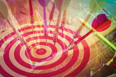 bull     s eye: Arrows dart hitting the center of a target, success business concept with graph chart analysis Stock Photo