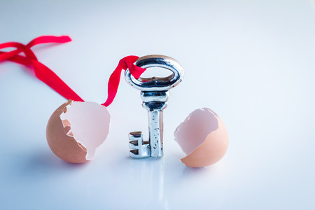 break out: new key break out from egg shell Business concept Stock Photo
