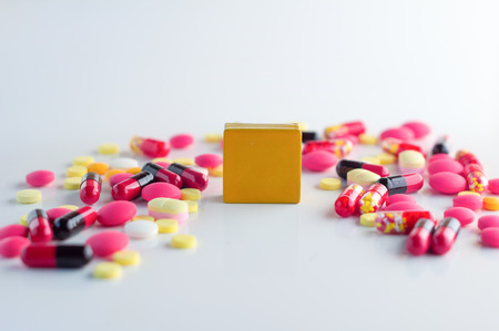 yellow block: yellow block with blank area for your text with pills on white background