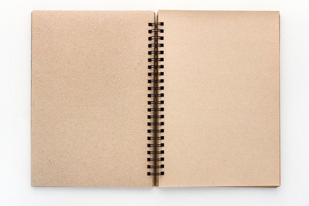 Open Vintage recycle Sketchbook with white background
