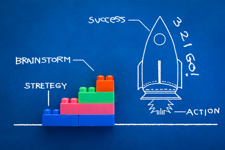 risky job: innovation concept with rocket drawing  and success word hand drawing on blue color background.jpg