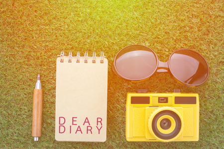 confide: diary concept with sun glasses notebook camera and sharp pencil on grass texture view from top