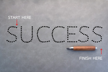 sharp pencil: dot line game success word with sharp pencil on grey background business concept.jpg