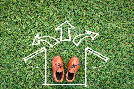 leather shoe: drawing of box open on grass field with leather shoe creativity idea concept