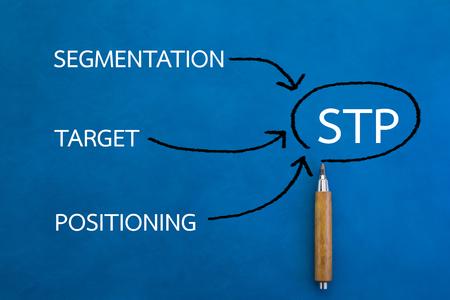 Digital Online STP Marketing Working Concept on color background