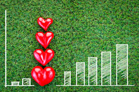 everlasting: four red hearts on green grass field texture background love concept.jpg