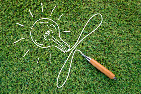 sharp pencil: sharp pencil and bulb drawing on green grass background with copy-space