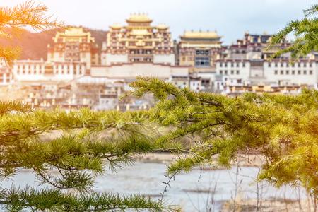 tibetian: Landscape with tibetan monastery and lake  in Zhongdian city china .jpg