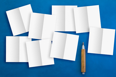 technic: note paper cut technic and pencil on blue background creativity ideas concept.jpg