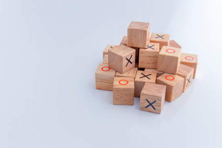 tic tac toe: tic tac toe XO game,Wood Toys,wooden block with x and o inside creativity ideas concept