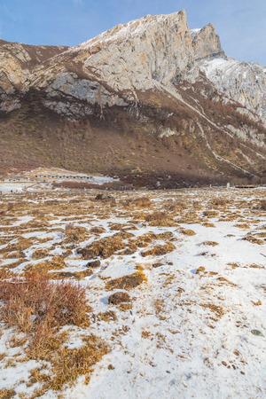 china landscape: autumn in Yading national level reserve, China landscape background Stock Photo
