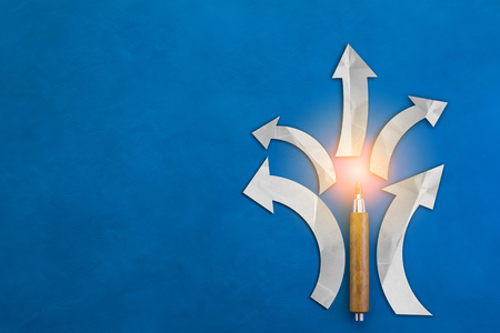 different goals: arrow with pencil leader concept on blue background