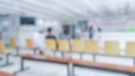 hotel staff: Blur abstract background reception hall customer or patient counter service & cashier desk indoor space in hospital office hotel bank interior: Blurry perspective view information lobby staff working