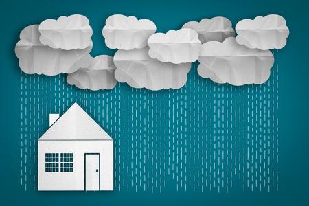 raining: concepto de negocio. pequeña casa y lloviendo en el fondo de color. Foto de archivo