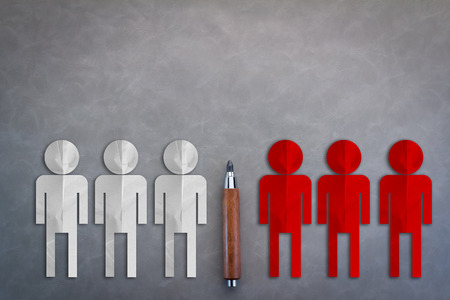 separates: RED AND WHITE MEN PAPER CUT WITH separates two different groups of people