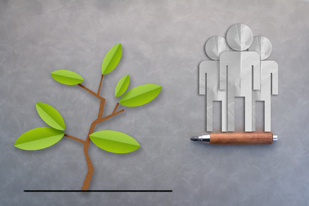 biodiversity: three men paper cut and tree concept of success and natural live on grey background