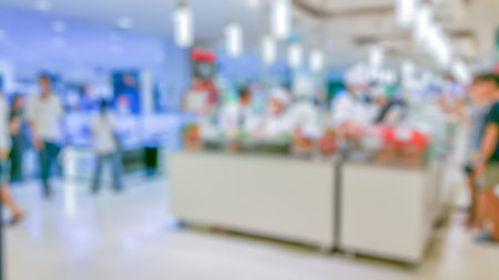 food distribution: food court store blur background with bokeh background concept
