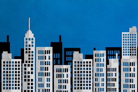 post office building: cityscape paper flat style on blue background .