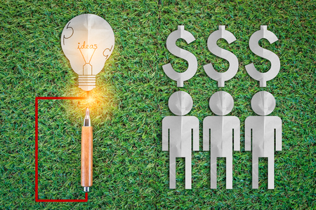 man paper cut style with light bulb and mony icons business ideas concept