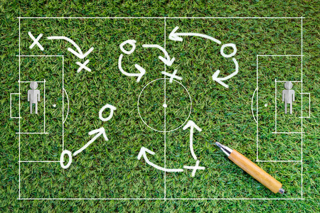 Football strategy signs on green grass  texture background with copy-space Stock Photo