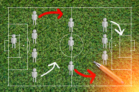 The tactic game of the football stretegy  on green grass  texture background with copy-space