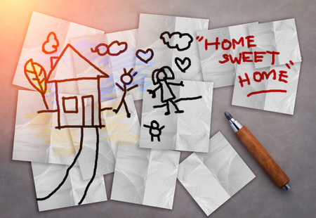 sweet background: home sweet home house drawing with paper note  on grey background