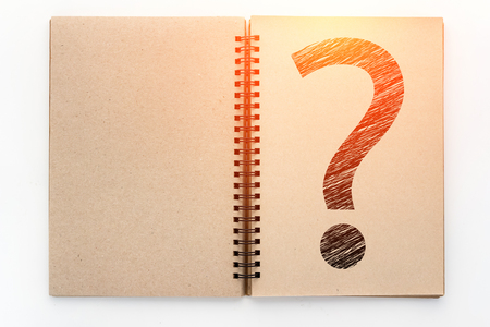 Open Vintage recycle Sketchbook and drawing of question mark with white background