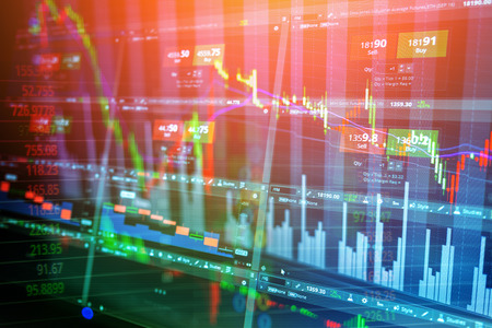 Candle stick stock market tracking graph business concept