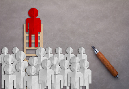 odd job: LEADERSHIP CONCEPT WITH BUSINESS MAN PAPER CUT ON LADDER AMONG OTHER BUSINESS MAN
