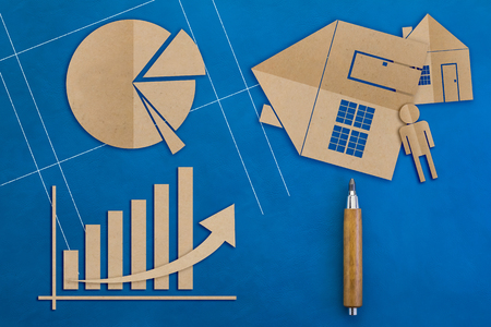 architectural model: Business concept with business graph paper cut style and home architectural model on blue color background