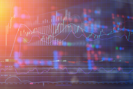 financial Stock market graph on screen display business concept background Archivio Fotografico