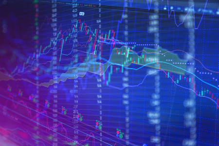 trading board: Financial data on a monitor. Finance data concept. Stock Photo