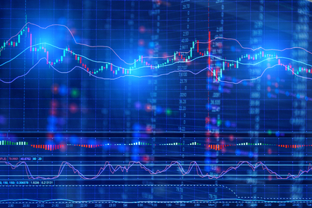 financial Stock market graph on screen display business concept background Stock Photo
