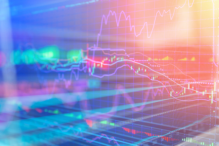 financial Stock market chart, Stock market data in blue on LED display concept Archivio Fotografico