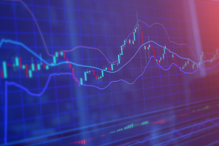led display: stock market chart, Stock market data in blue on LED display concept Stock Photo