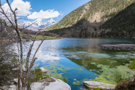 china landscape: china landscape lake and mountain forest background