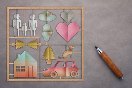 love icon: family model set with paper cut flat style and wooden pencil home sweet home concept