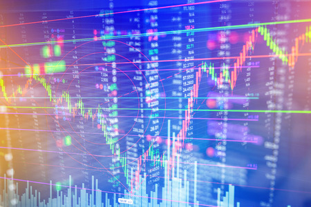 Candle stick graph chart of stock market investment trading business finance concept and background
